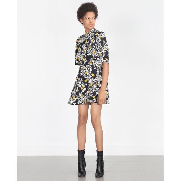 Zara Dresses & Skirts - Zara Mock neck floral print mini dress size M